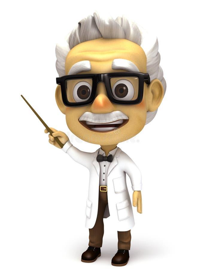 Professor med att peka pinnen royaltyfri illustrationer