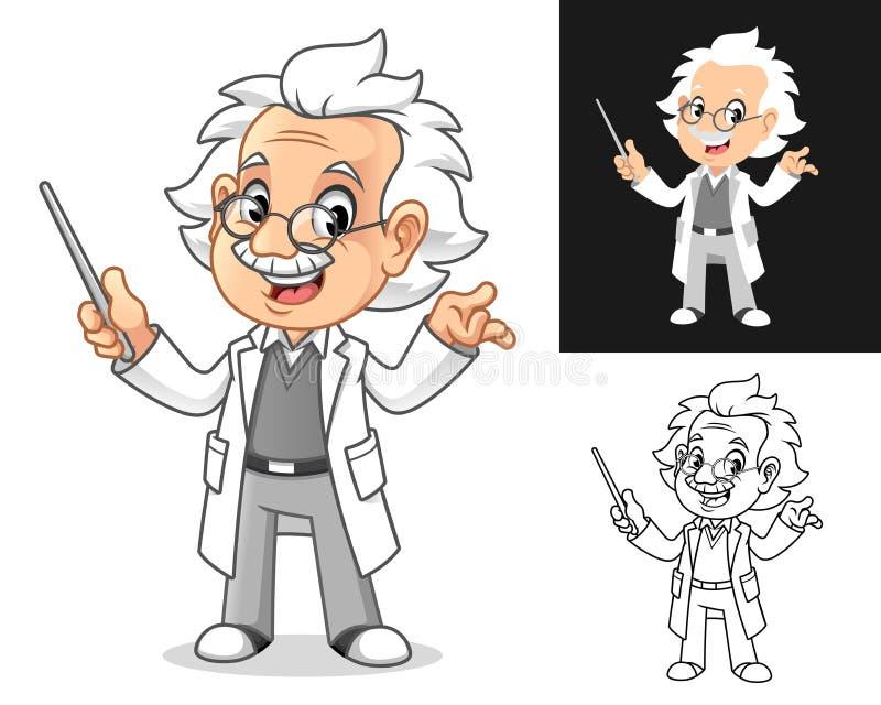 Professor met Glasses Holding een Pointer Stick stock illustratie