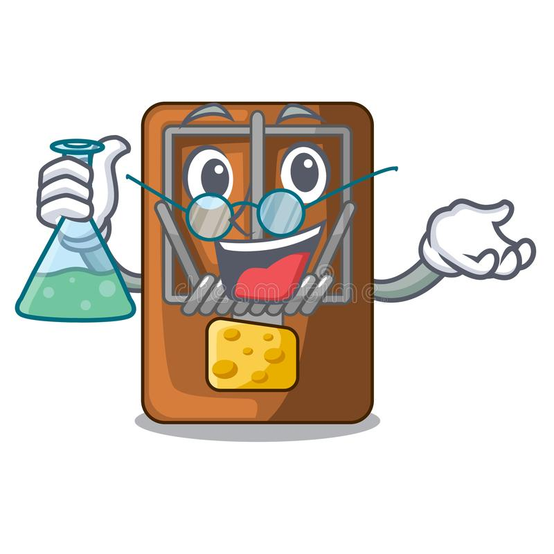 Professor mousetrap in the shape mascot wood. Vector illustration stock illustration