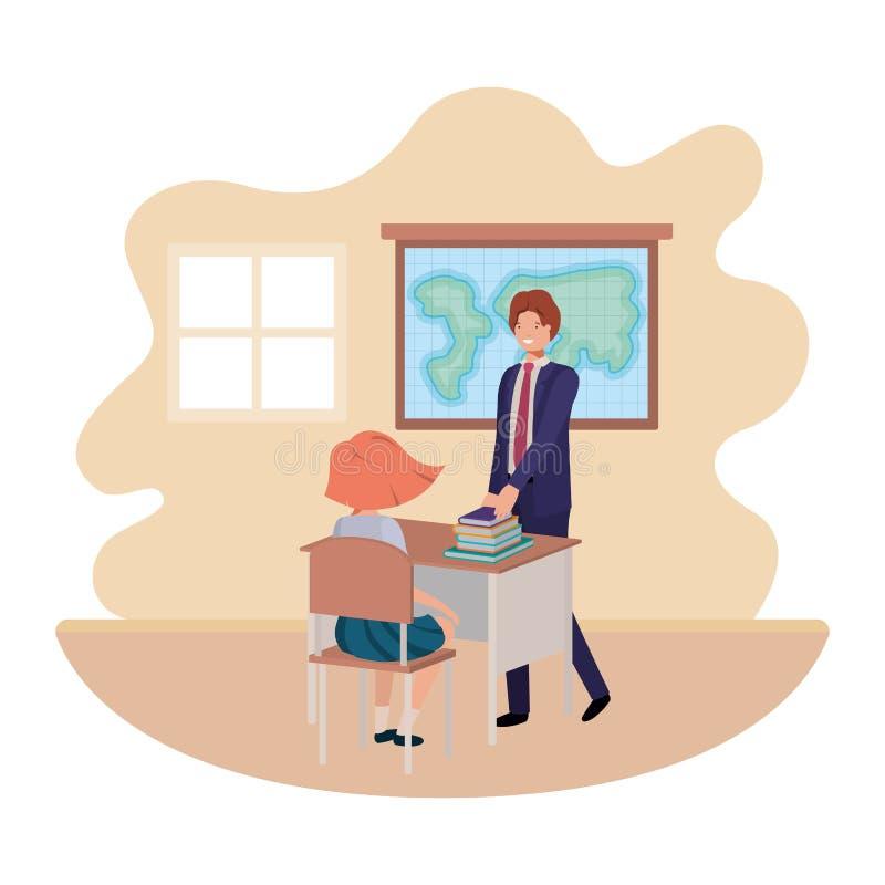 Professor na sala de aula com caráter do avatar do estudante ilustração do vetor