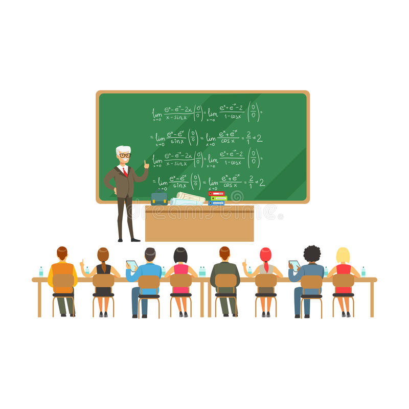 Professor near the blackboard with formulas talking to group of students during the university lecture, high school royalty free illustration