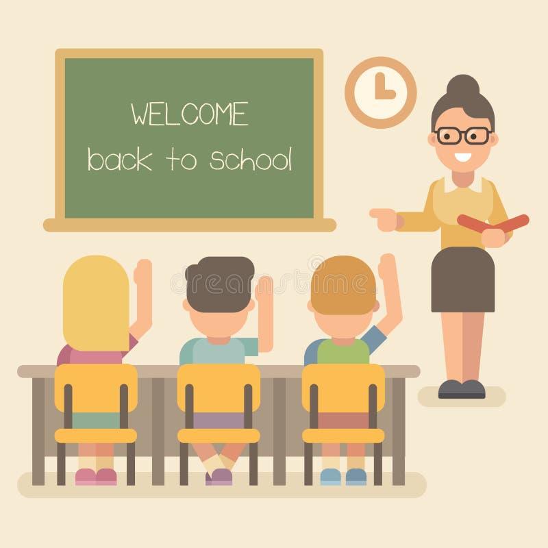 Professor novo com estudantes em uma lição ilustração do vetor