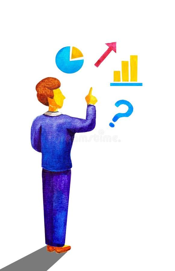 Professor novo do homem de negócio do trabalhador de escritório no dedo azul dos pontos do gesto do terno acima em dados, em gráf ilustração do vetor