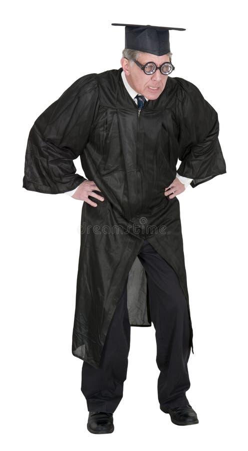 Professor ou professor irritado médio engraçado Isolated da faculdade foto de stock