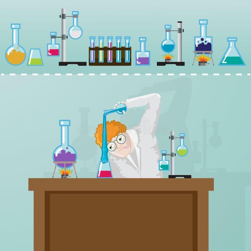 Professor que faz o experement da química em laborotory ilustração royalty free