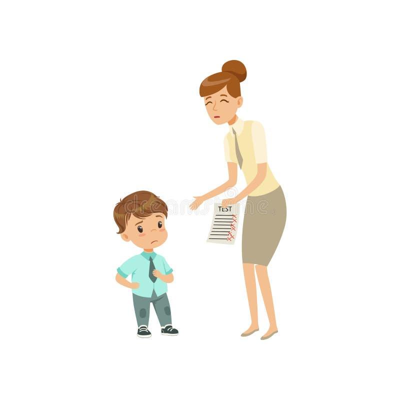 Professor que mostra categorias más à ilustração triste do vetor do rapaz pequeno em um fundo branco ilustração do vetor