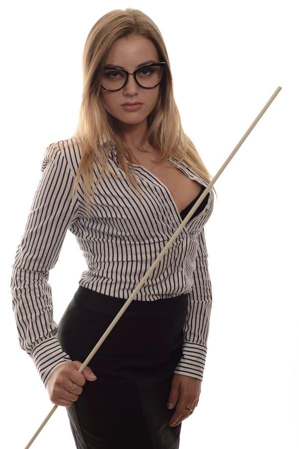 Professor restrito com um ponteiro em sua mão fotos de stock