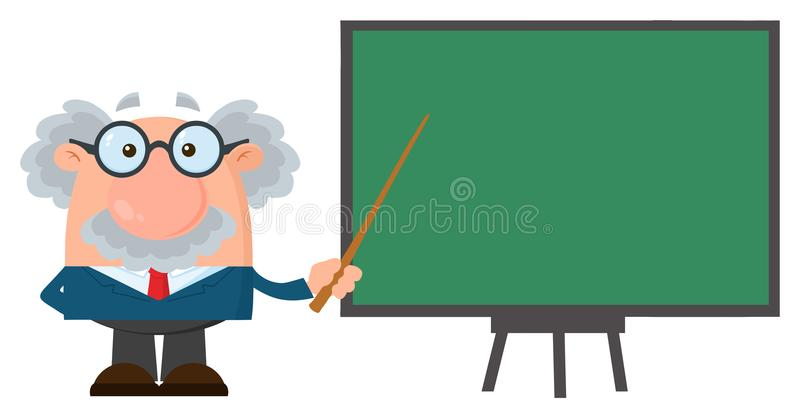 Professor Or Scientist Cartoon Character With Pointer Presenting On A Board royalty free illustration
