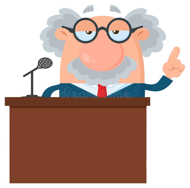Professor Or Scientist Cartoon Character Speaking Behind a Podium With Speech Bubble stock illustration