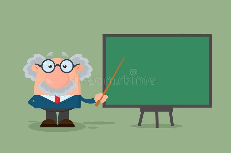 Professor Or Scientist Cartoon Karakter die met Wijzer op een Raad voorstellen royalty-vrije illustratie