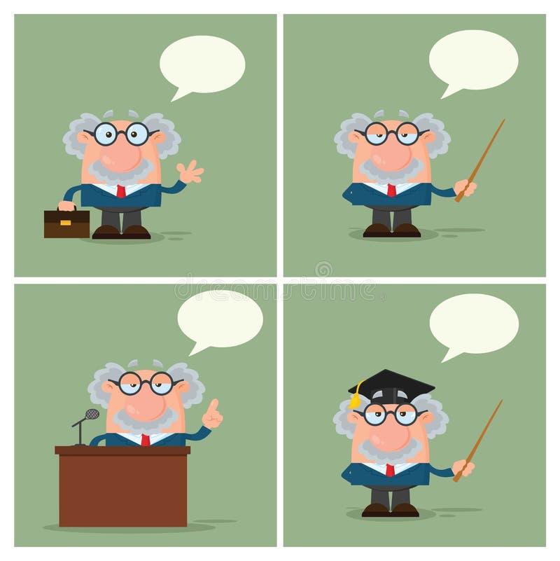 Professor Or Scientist Character Samling - 4 vektor illustrationer