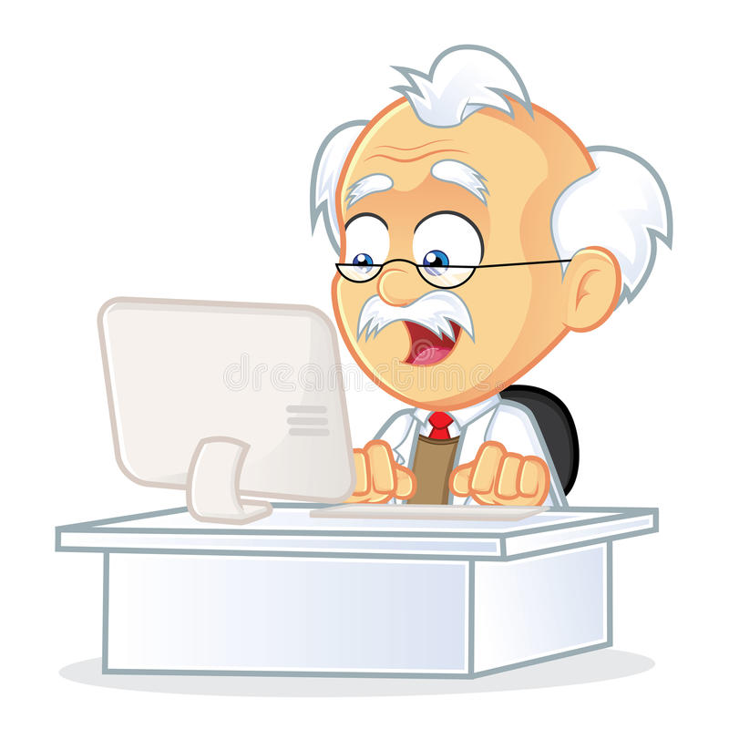Professor Sitting in Front of a Computer. Clipart Picture of a Professor Cartoon Character Sitting in Front of a Computer vector illustration