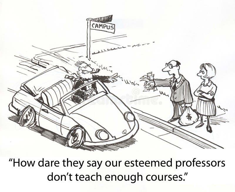 Professor sports car. Hotshot professor only takes money stock illustration