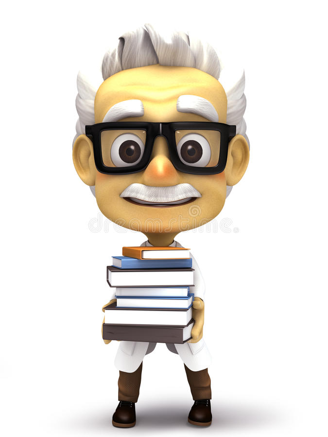 Professor with stack of books vector illustration
