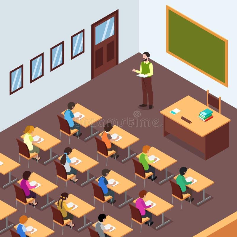 Professor Student na sala de aula na ilustração isométrica ilustração do vetor
