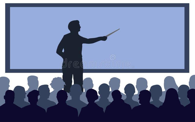 Professor, suportes do orador perto da tela ilustração royalty free