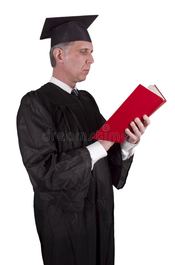 Download Professor Teacher Reading Book Isolated Stock Photo - Image: 17703152