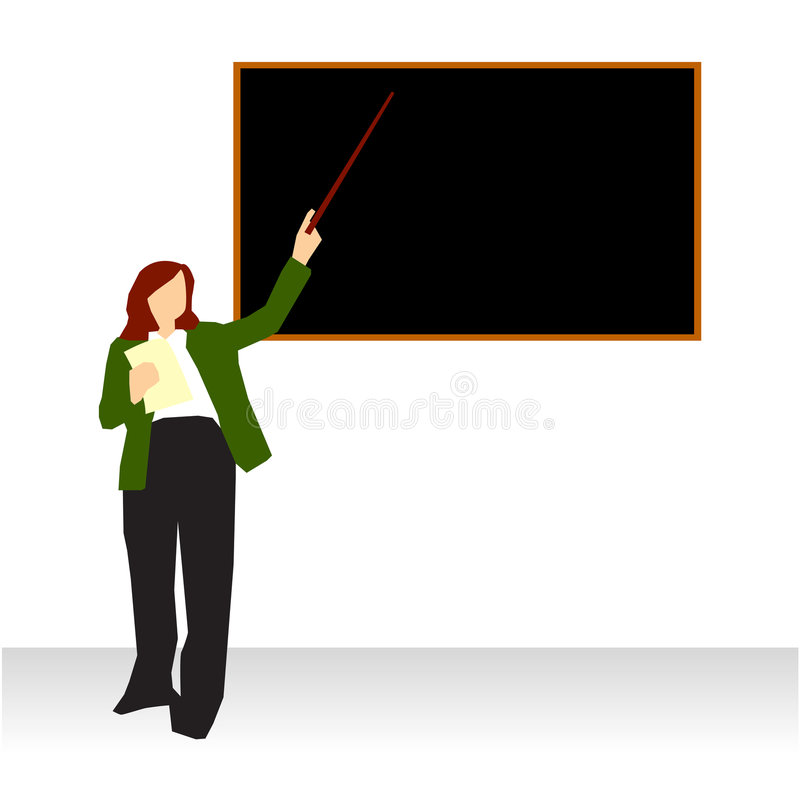 Professor Teaching At Blackboard Stock Photo