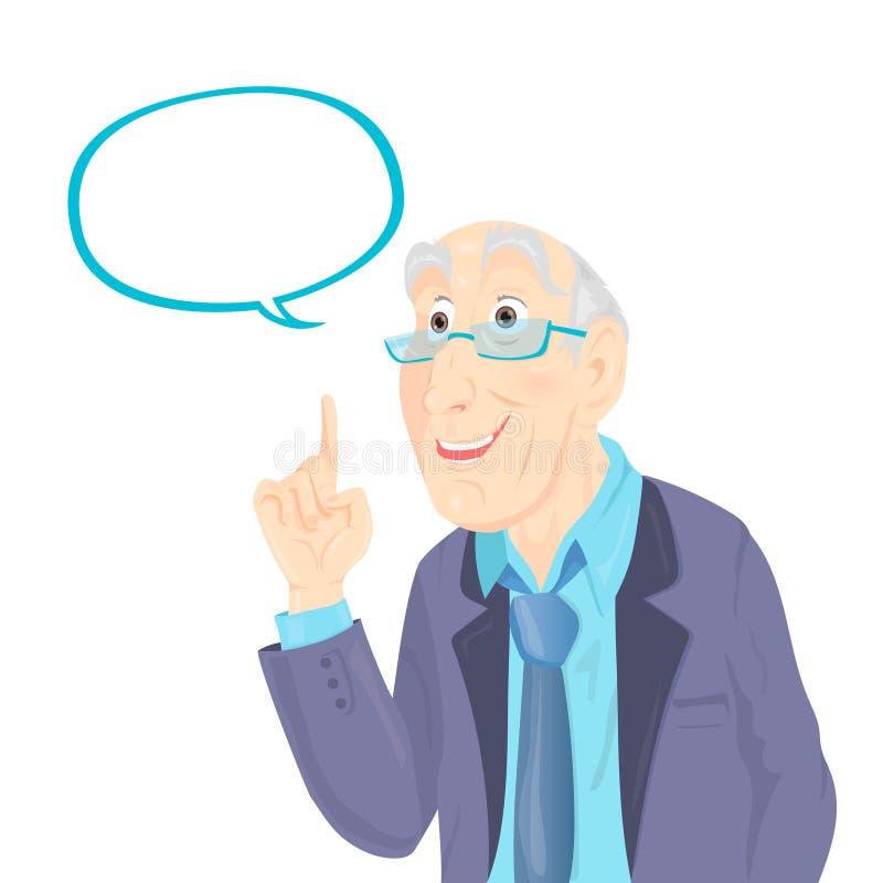 Professor Thinking com bolha branca ilustração royalty free