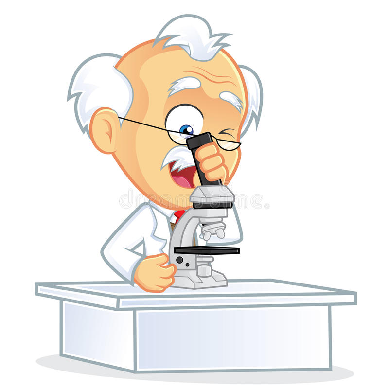 Professor Using A Microscope Stock Vector Illustration