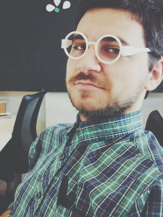 Professor. A professor wearing 3D printed glasses stock photos