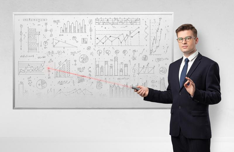 Professor on whiteboard teaching geometry royalty free stock photos