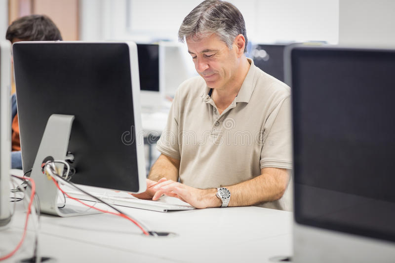 Professor working on computer stock images