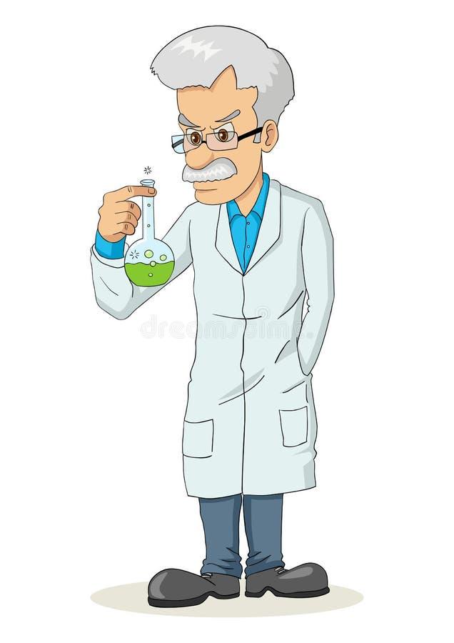 Professore che tiene un tubo del laboratorio royalty illustrazione gratis