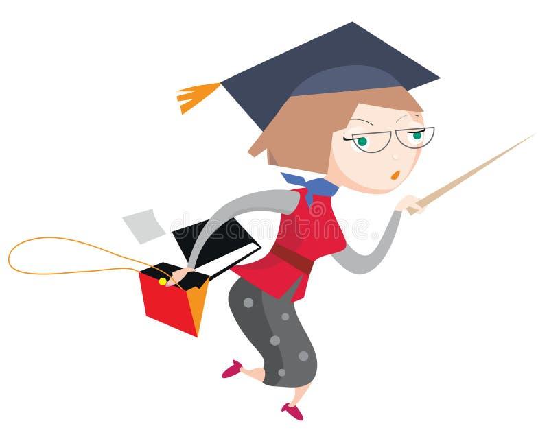 Professore occupato astuto della scuola, tenente indicare bastone, il raccoglitore dell'archivio e borsa aperta illustrazione vettoriale
