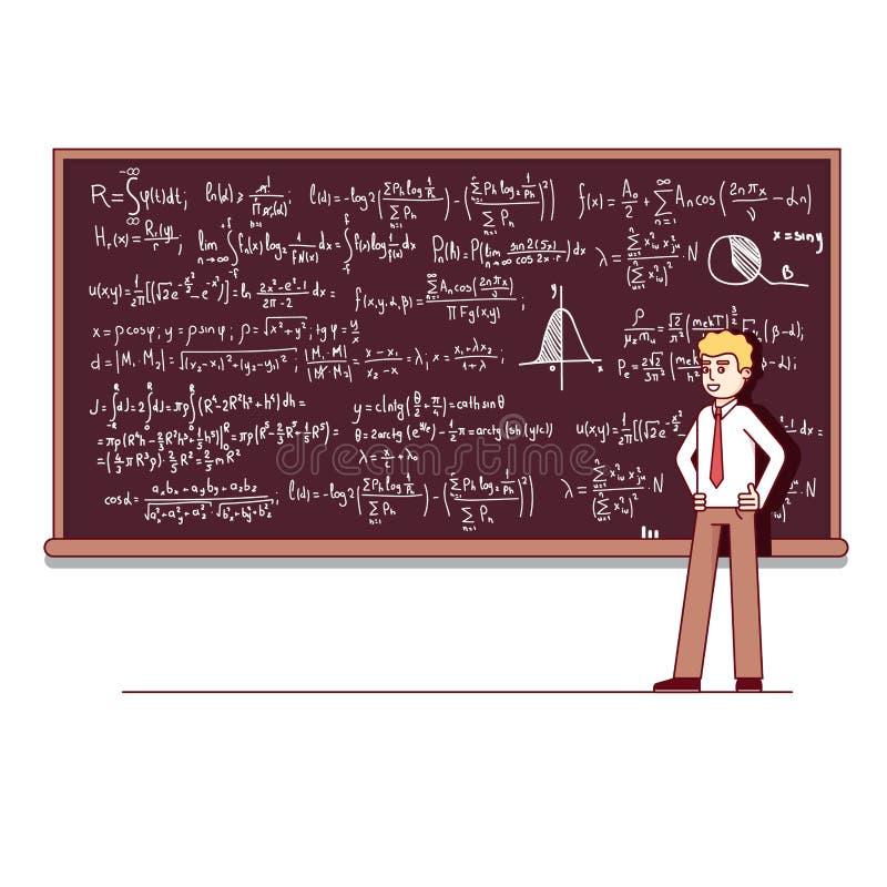 Professore universitario che dà conferenza su matematica royalty illustrazione gratis