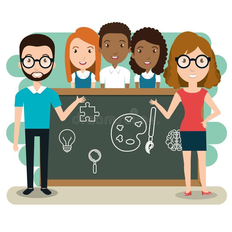 Professores dos pares com os estudantes na sala de aula ilustração royalty free