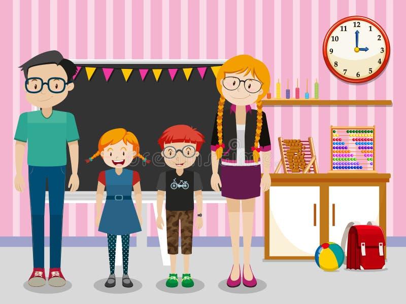 Professores e estudantes na sala de aula ilustração do vetor