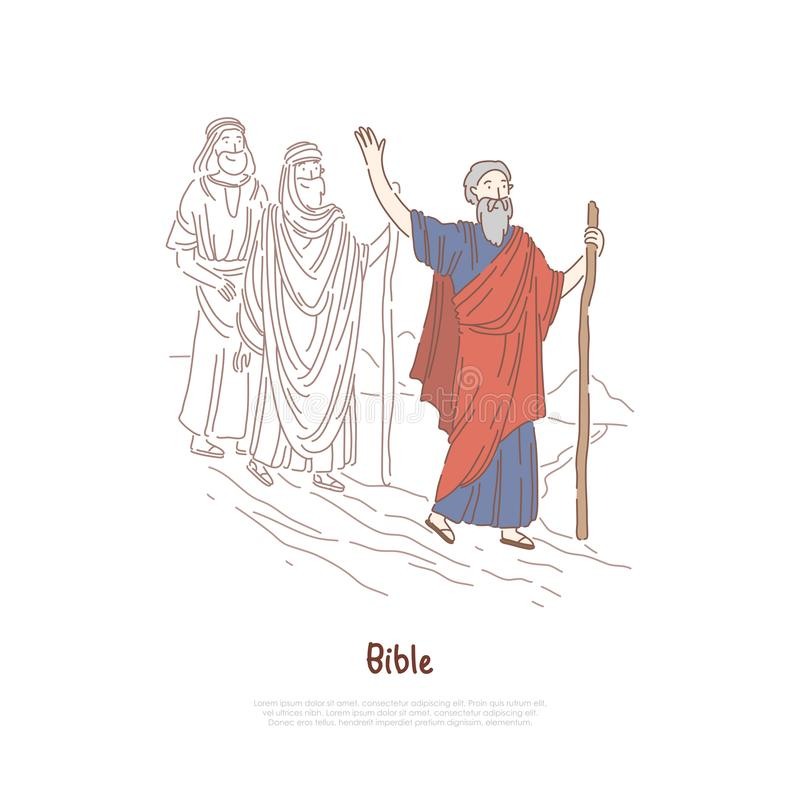 Profeta de Moses, figura legendaria, historia de la biblia, mito y leyendas, narrativa bíblica, plantilla de la bandera de los ca libre illustration