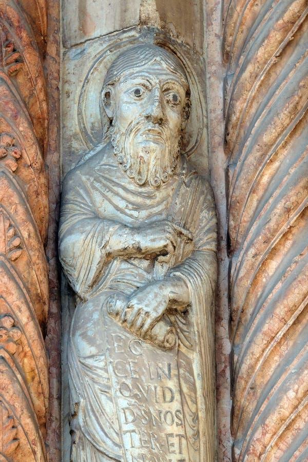 Profeta, estatua en el portal de la catedral dedicada a la Virgen María bendecida bajo designación en Verona fotografía de archivo libre de regalías