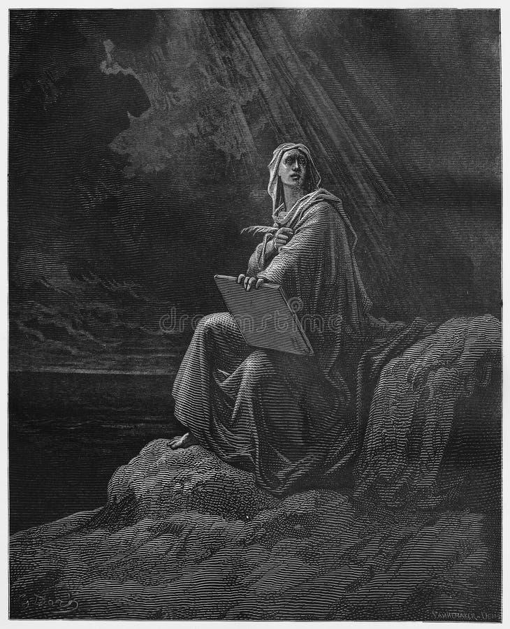Profeta John em Patmos ilustração royalty free