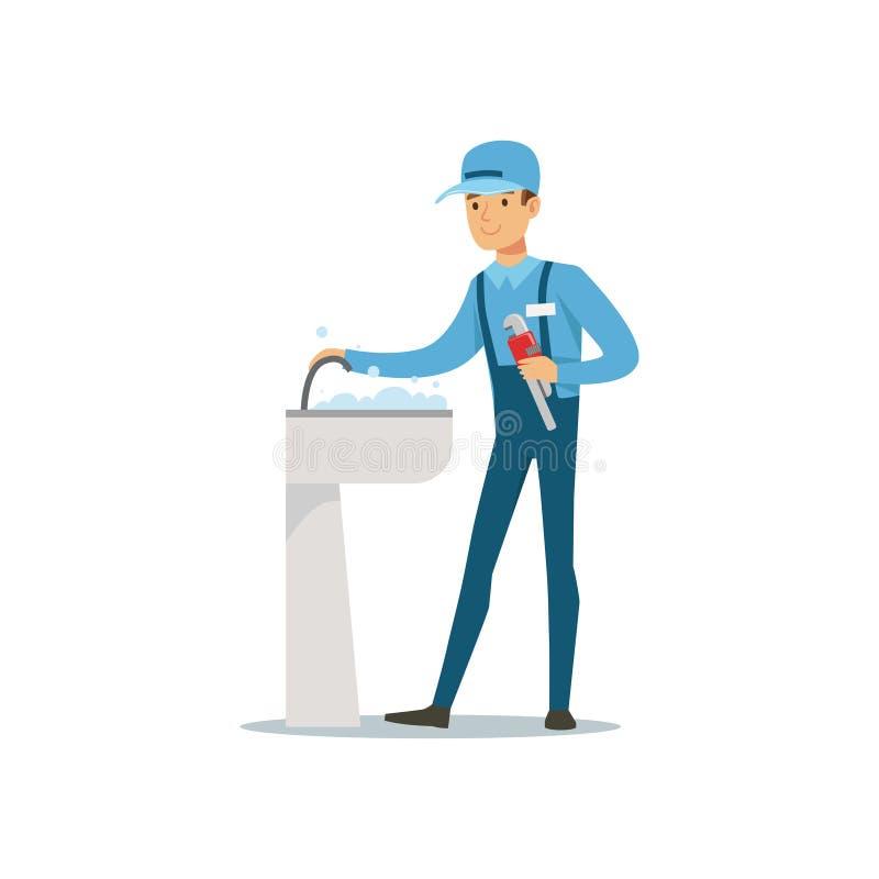 Proffesional水管工与修理龙头轻拍的活动扳手的人字符,测量深度工作传染媒介例证 库存例证