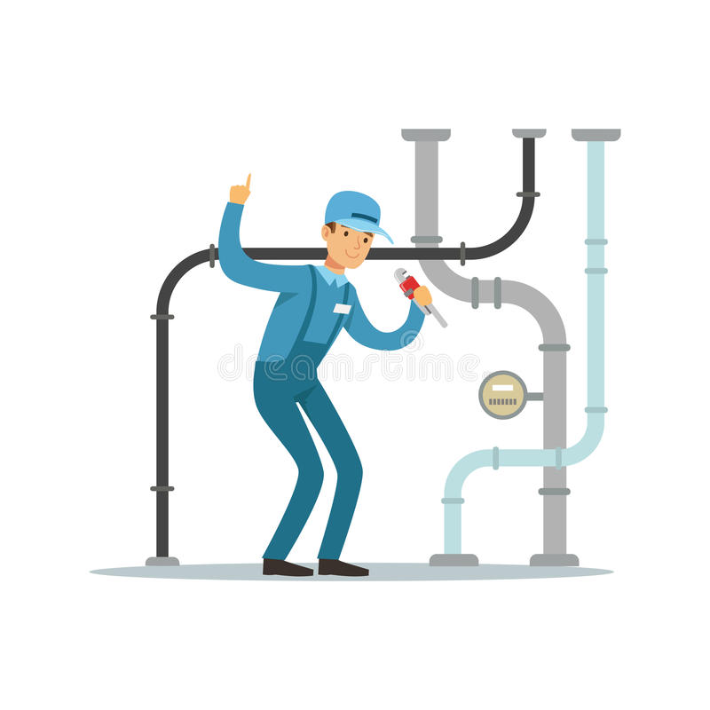 Proffesional水管工人字符修理和固定的水管,测量深度工作传染媒介例证 向量例证