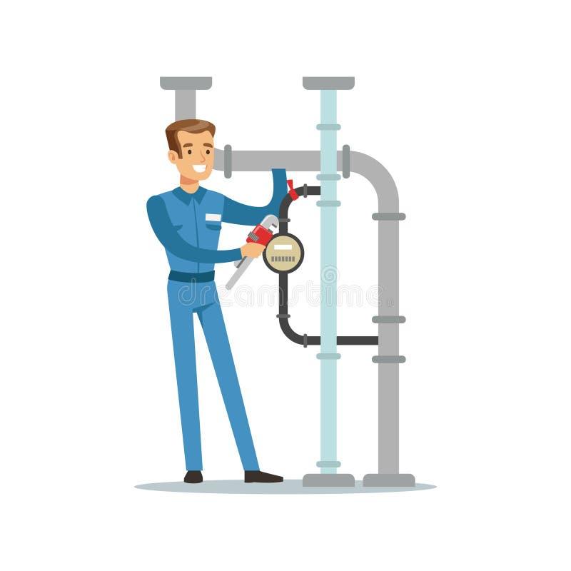 Proffesional水管工安装水表的人字符在管道,测量深度工作传染媒介例证 库存例证