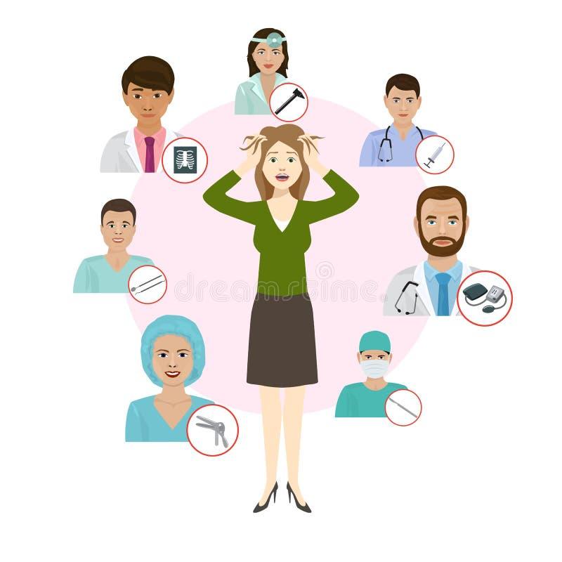 Proffesionals di medici di Medicne per l'illustrazione di vettore dei deseases della donna Personale dell'erba medica messo con l royalty illustrazione gratis