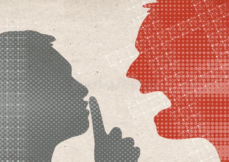 Profiel getrokken silhouetten - en Stille mensen die schreeuwen stock illustratie