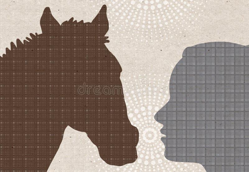 Profiel getrokken silhouetten - Vrouw met Paard vector illustratie