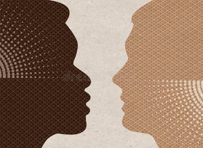 Profiel getrokken silhouetten - Zwart-witte Mensen stock illustratie