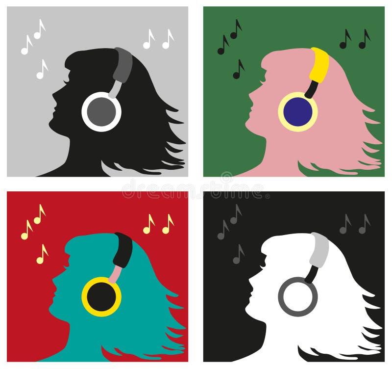 Profiel met hoofdtelefoonspop-art royalty-vrije illustratie