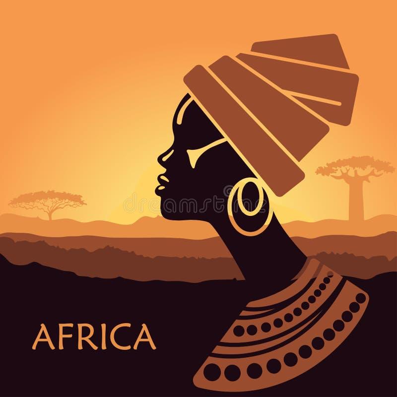 Profiel van Afrikaanse vrouwen in een landschap royalty-vrije illustratie