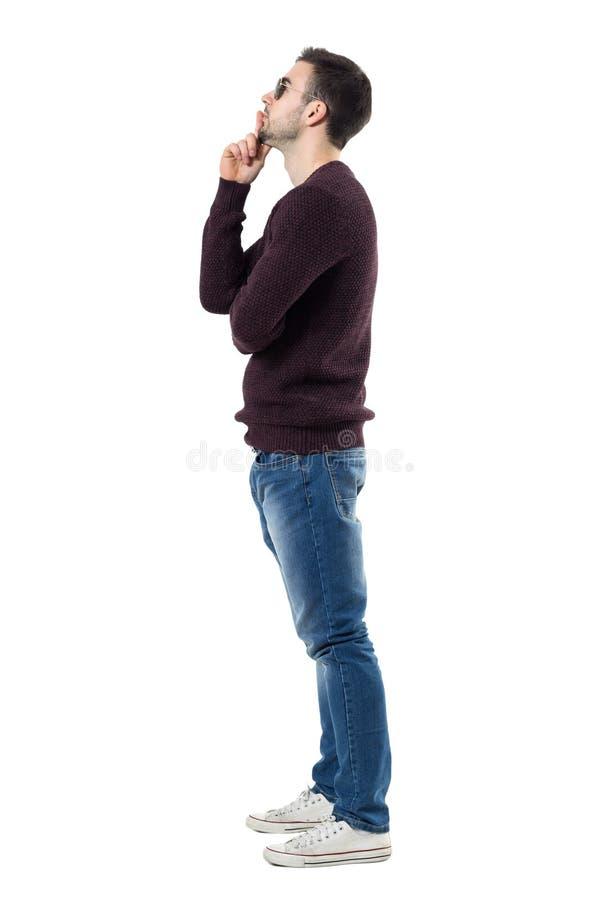 Profiel van de jonge mens kastanjebruine trui dragen en en zonnebril die omhoog denken eruit zien royalty-vrije stock fotografie