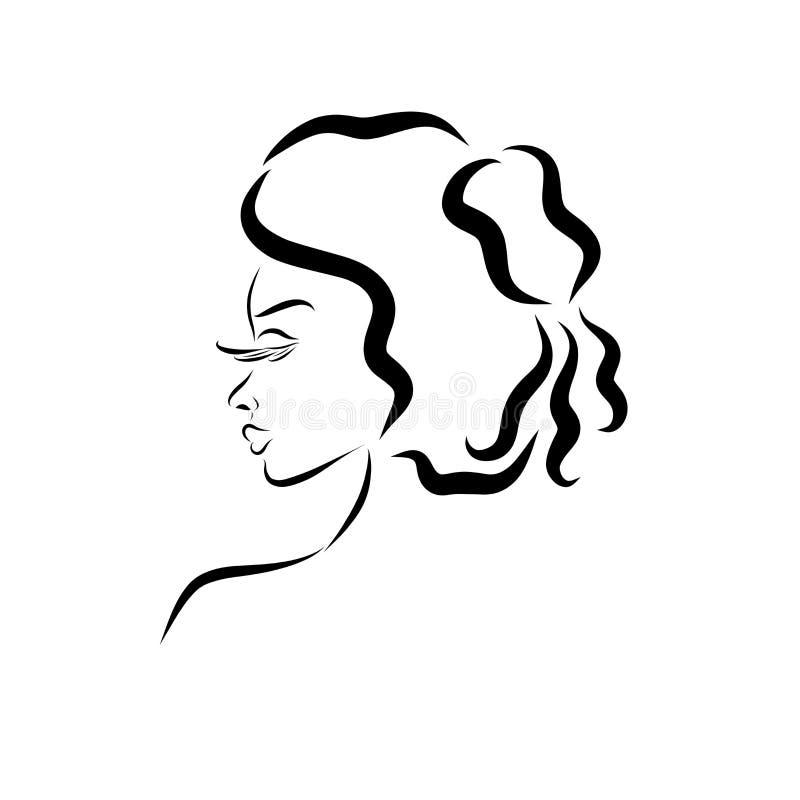 Profiel van een charmante dame met een aristrocratisch kapsel stock illustratie