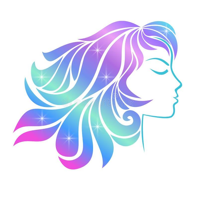 Profiel van een jong die meisje op een witte achtergrond wordt geïsoleerd Holografisch effect royalty-vrije illustratie