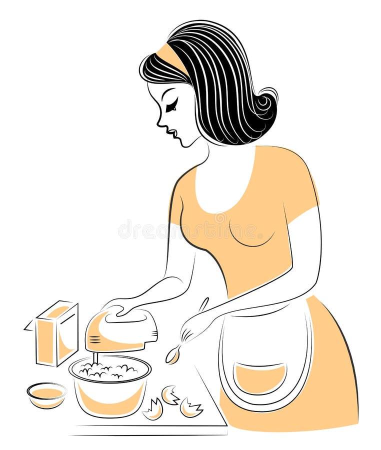 Profiel van een mooie dame Het meisje bereidt voedsel voor De vrouw slaat de mixer met voedsel, eieren, cakebloem Vector royalty-vrije illustratie