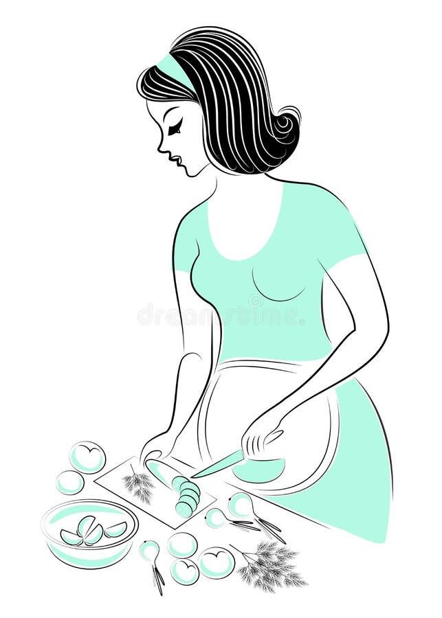 Profiel van een Mooie Vrouw De dame is zwanger Het meisje bereidt een gezond vitaminevoedsel voor Komkommers, tomaten, uien Vecto royalty-vrije illustratie