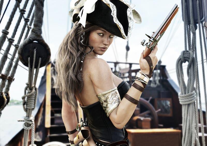 Profiel van een Sexy Piraat vrouwelijke kapitein die zich op het dek van haar schip met in hand pistool bevinden vector illustratie